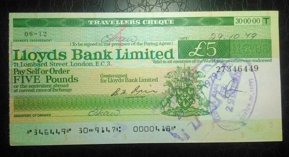 #0205 Inglaterra Antiga Cédula Cheque Viagem 5 Libras 1979
