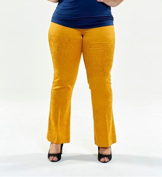 Calça Flare De Jacquard Plus Size