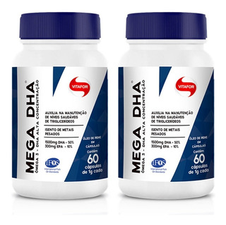 Kit 2 Mega Dha 1500mg Dha/300mg Epa - 60 Cápsulas - Vitafor