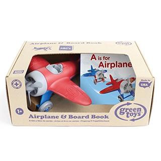 Avión Juguetes Verde Y Libro De Cartón