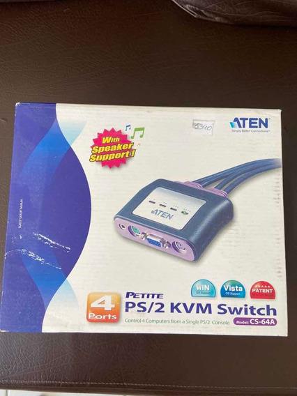 Chaveador Kvm Ps/2 Com 4 Portas Novo Lacrado