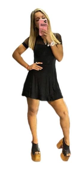 Vestido De Fiesta Mujer Negro Corto Escote Noche Informal