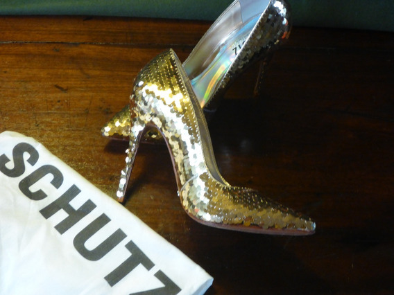 Sapato Shutz Nº 35 Dourado Único Juju Salimeni Salto 11