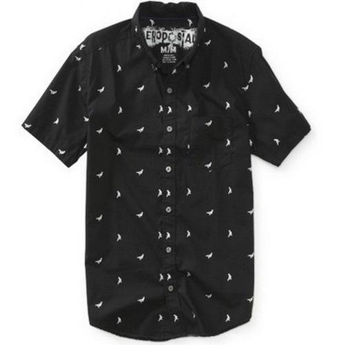 M- Camisa Aeropostale Negra C122ap Ropa Hombre 100% Original