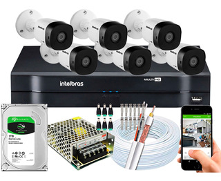 Kit Cftv 6 Câmeras Multi Hd 720p 1mp Dvr Intelbras Mhdx 1108