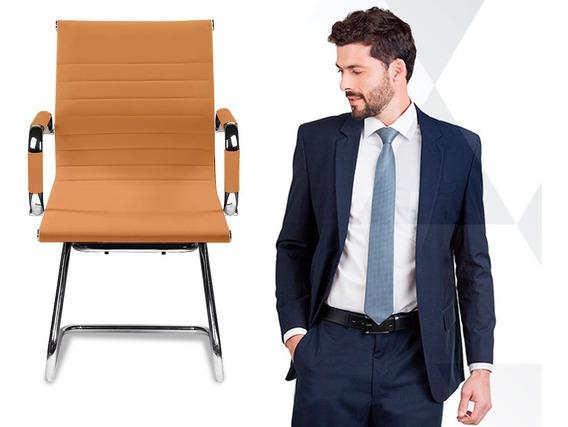 1 Cadeira Interlocutor Secretária Pés Fixos Esteirinha Couro