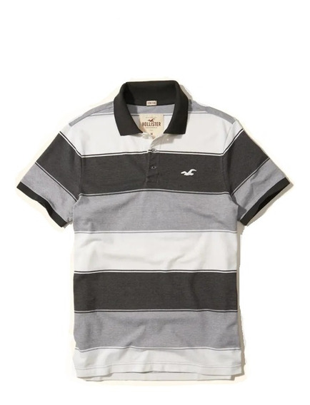 Hollister Caballero Polo Stretch Pique Franjas Grises Import