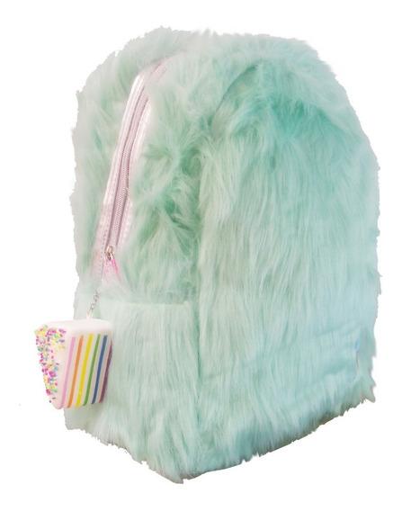 Mochila Primaria Con Squishy Pastel Linda Kawaii Pelo Fur