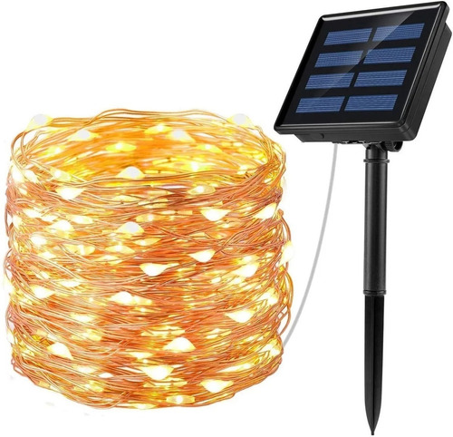 Imagen 1 de 8 de Guirnalda De Luces Led Solares Con 8 Modos De 22 M P/jardín