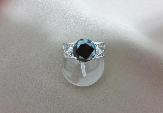 Diamante Negro Natural Em Lindo Anel Unissex Prata - Aro 23