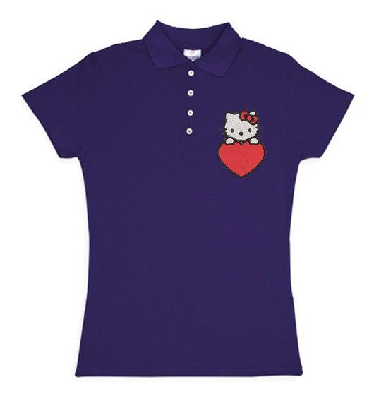 Playera Polo Hello Kitty Corazon Colores Bordada Opcion Personalizada