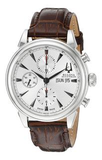 Reloj Bulova Accutron 63c107 Automático Cronograph Agente!!