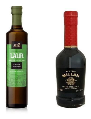 Imagen 1 de 10 de Aceite De Oliva Laur - 500ml + Aceto Balsámico Millán -250ml