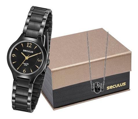 Relógio Seculus Feminino Preto Com Pulseira 77017lpsvpa2k1