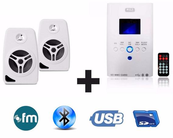 Som Ambiente Bluetooth+ 2 Caixa Branca Suporte Parede