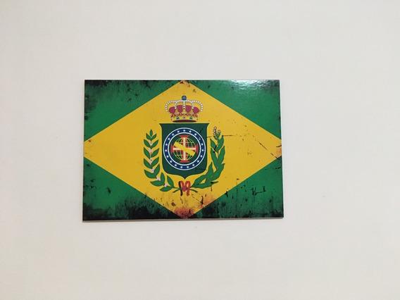 Placa Quadro Decorativo Da Bandeira Do Brasil Império Mod 2
