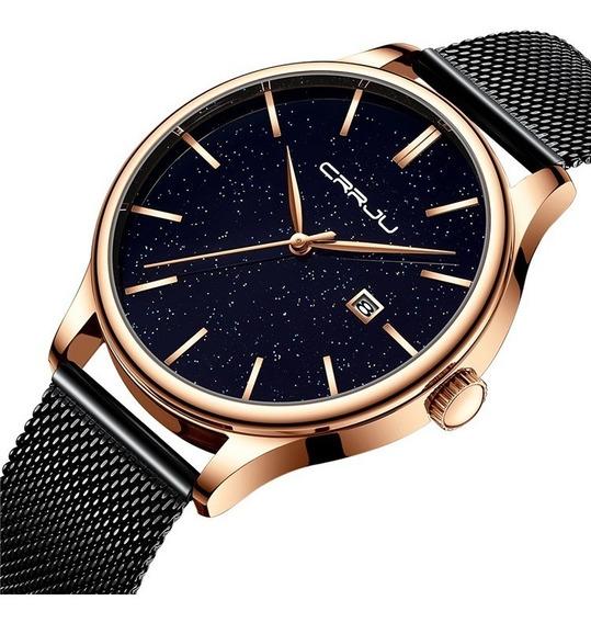 Relógio Masculino Social Luxo Crrju Metal E Aço Inoxidável