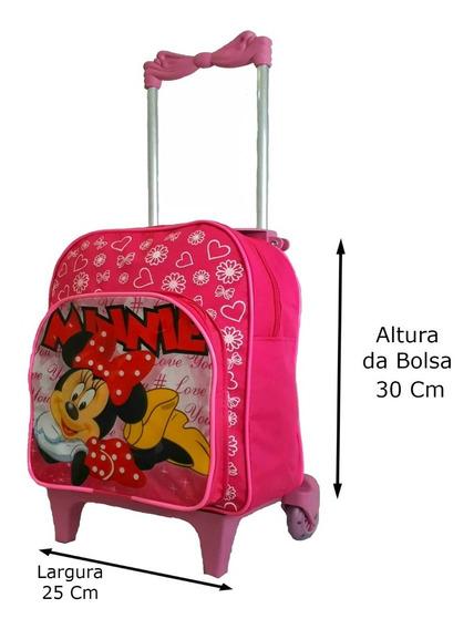 Mochila Infantil Rodinha Feminina Meninas Minnie Escolar