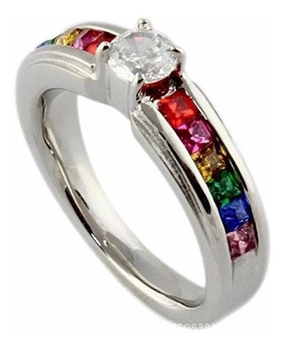 Anillo Um Jewelry Cz Crystal Lesbian Pride Rainbow Ring