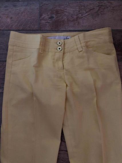 Pantalón De Gabardina Amarillo Pastel