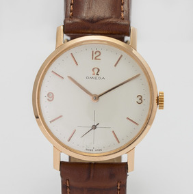 Relógio Omega Antigo Ouro Rose 18k Anos 70 Pulseira De Couro