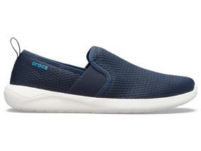 Zapato Crocs Caballero Literide Mesh Slip On Marino/blanco