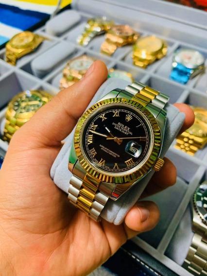 Reloj Rolex Date Just Acero Y Dorado Esfera Negra Automatico