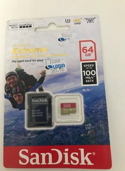 Cartão De Memória Original Sandisk Extreme 64gb [ Novo ] 100