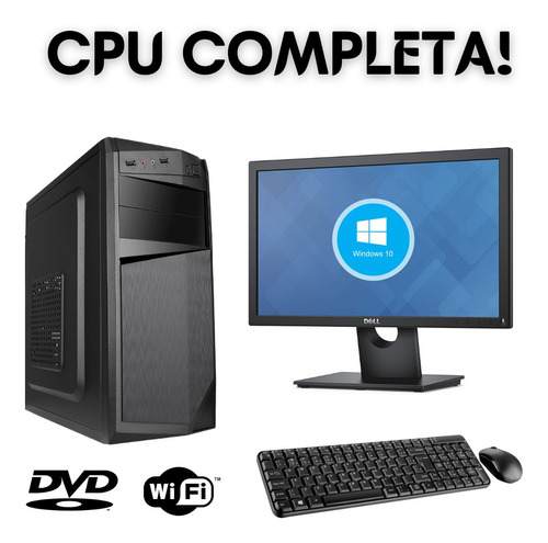 Imagem 1 de 3 de Cpu Pc Core 2 Duo 4gb Ssd120 Wifi Dvd Win10 + Monitor 19 .
