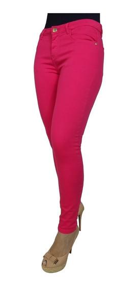 Calça Jeans Skinny Feminina Rosa Escuro Cintura Alta Verão