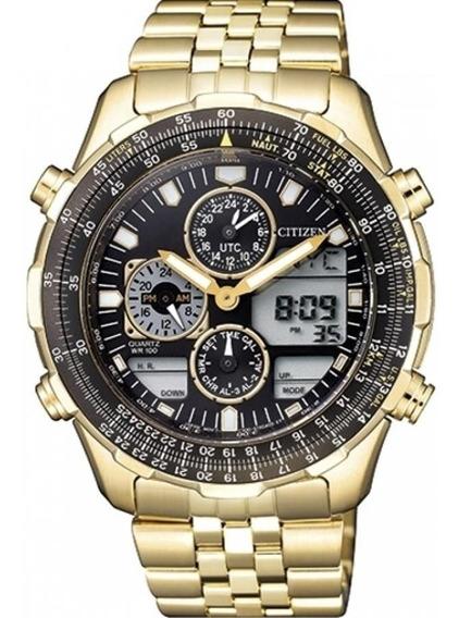 Relógio Citizen Masculino Tz10173u Navihawk Dourado Original