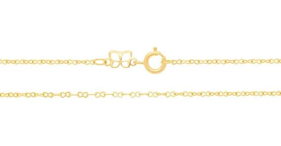 Cordão Rommanel Folheado Ouro Elo Infinito Oito 50cm 530536