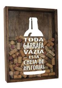 Quadro Porta Rolha Em Madeira Grande 30x40 Com Vidro