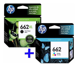 Cartucho Hp 662xl Negro + 662 Color Originales P 2515 3515