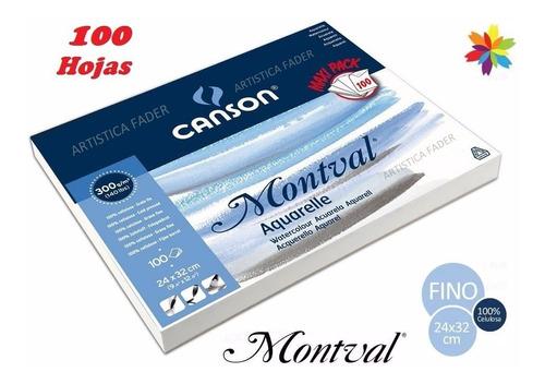 Imagen 1 de 3 de Block Canson Montval 24x32 300grs 100 Hojas Acuarela