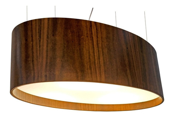Pendente Oval Em Madeira 25x82x45cm Union 099