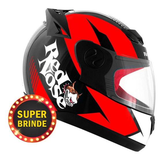 Capacete Masculino Evolution 788 G6 Red Nose Vermelho Brilho Pro Tork Moto