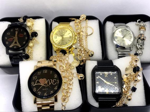 Lote C/ 05 Relógio Femininos Atacado Revenda + Caixa + Pulse