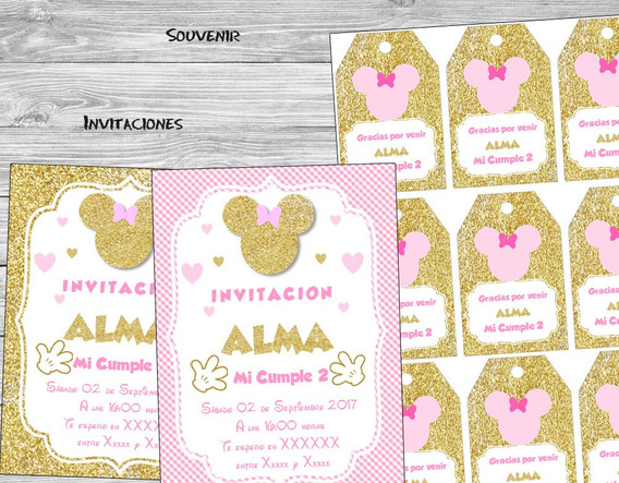 Kit Imprimible Minnie Dorado Rosa Candy Bar Baby Cumples