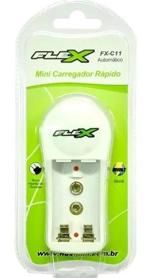 Carregador De Bateria Pilha Aa Aaa 9v - Flex Fx-c11 - Novo!
