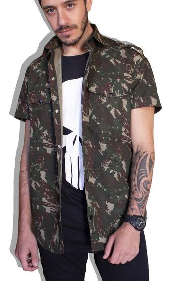 Camisa Sarja Social Swag Longline Rip Stop Militar Camuflado