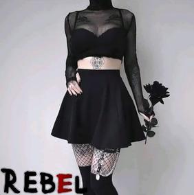 Outfit Falda Rotonda En Lycra+buso En Malla Mujer Rebelmark
