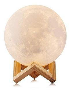 Lámpara Luz De Luna 8 Cm 3d 2 Colores Control Táctil