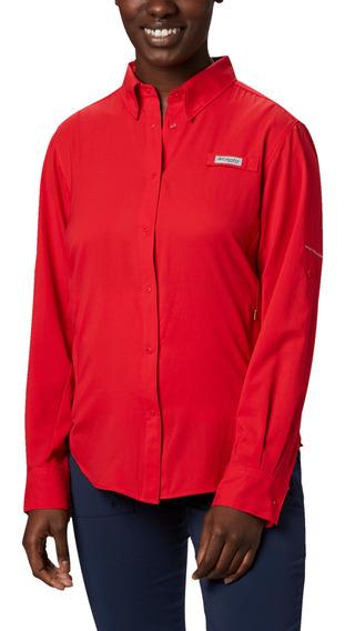 Camisa Columbia Pesca Tamiami Ii Mujer Rojo