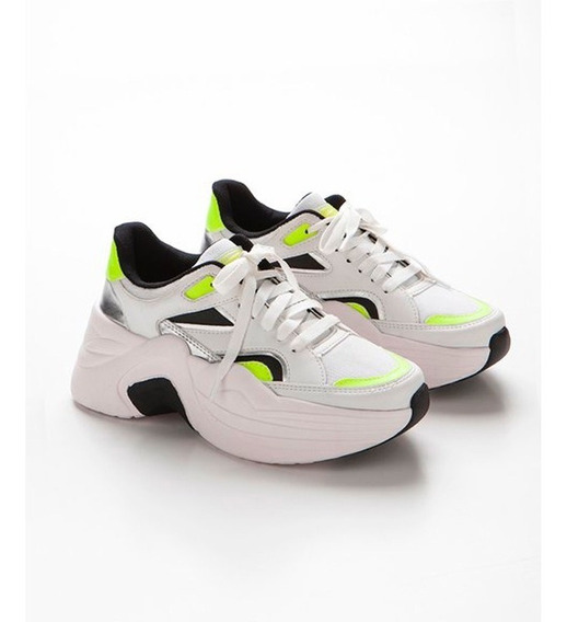 Zapatilla Nena Plataforma Combustion Love Cuero Sneakers