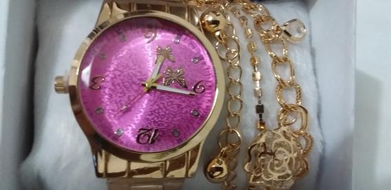 Relógio Feminino Dourado E Rosa +pulseira +frete Grátis
