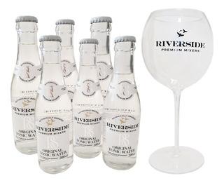 Água Tônica Riverside Pack 6 Unid. 200ml (vidro) + Taça Excl