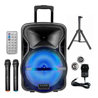 Parlante Bluetooth Portatil Gadnic Luces Microfonos Karaoke