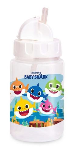 Imagem 1 de 5 de Copo Com Canudo Retrátil 340ml Azul Baby Shark Baby Go