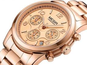 Relógio Feminino Megir 2057 Aço Inoxidável Data Cronômetro